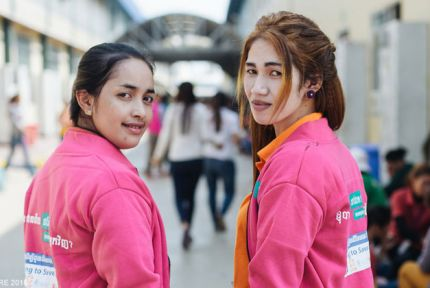Two female garment workers in Cambodia