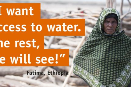 "Fatima in Ethiopia with quote: ""I want access to safe water"""