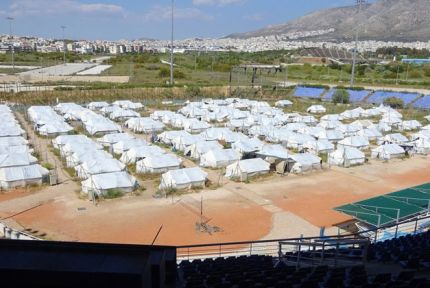 A refugee tent camp in Greece
