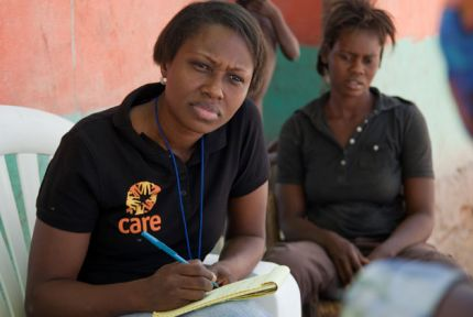 Mildrède Béliard, working in communities in Haiti to prevent the spread of Cholera and distribute soap and chlorine tablets
