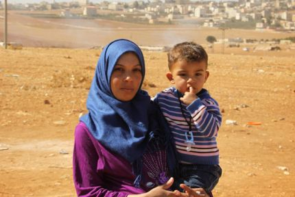 A woman and child on the outskirts of Amman in Jordan