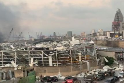 Destroyed buildings at Beirut port after explosion