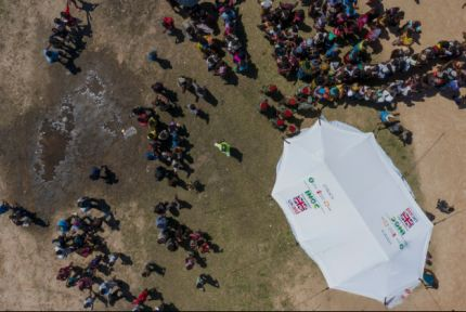 Aerial photo of UK aid tent in Mozambique
