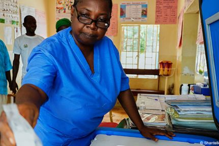 Nurse at a health centre in Sierra Leone