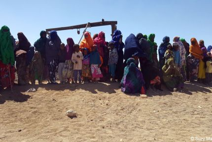 People awaiting emergency assistance at a temporary camp in Somaliland