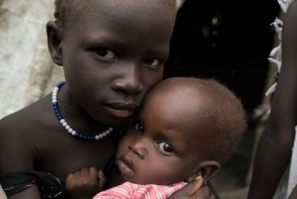 Chianyal and her sister Nyanen in South Sudan