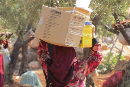A woman in rural western Aleppo carrying relief supplies