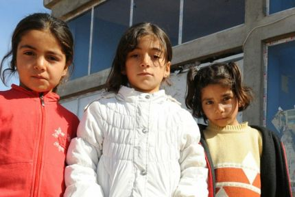 Three Syrian refugee girls pictured in Turkey