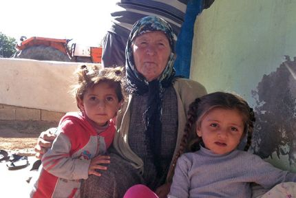 Aisha and her family in Suruc, Turkey, where they have been for 48 days