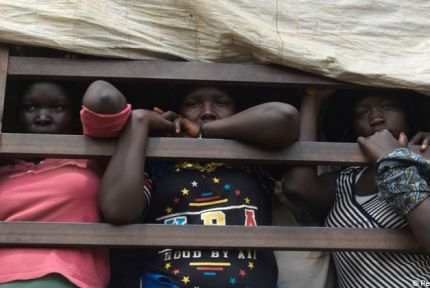South Sudanese refugees on a truck