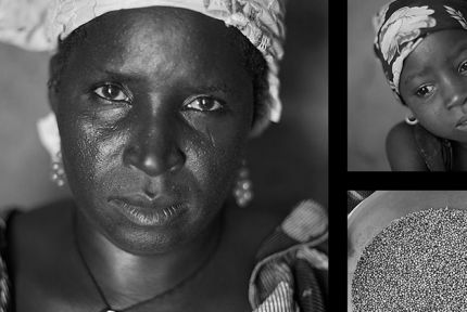 Clockwise from left: Sahara Mahama, 40. Her daughter Mariama, 4. A bucket of millet at Sahara's home in Saran Maradi, Niger. Sahara Mahama has seven sons and a daughter. She lost four other children; one of them was only 14 days old.