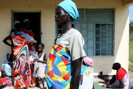 Nyanyin Jek outside CARE's health clinic in Yuai South Sudan © CARE / Josh Estey