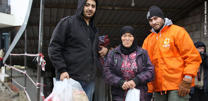 CARE distributing blankets for winter