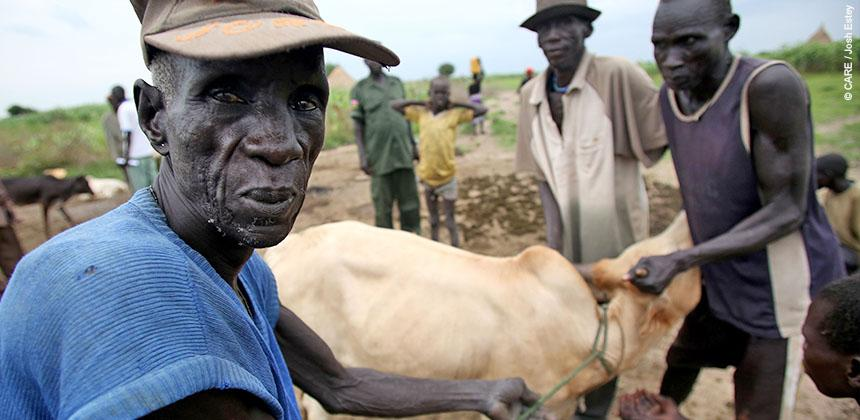Yom Deng and his cow which is bled to provide food for the community © CARE / Josh Estey