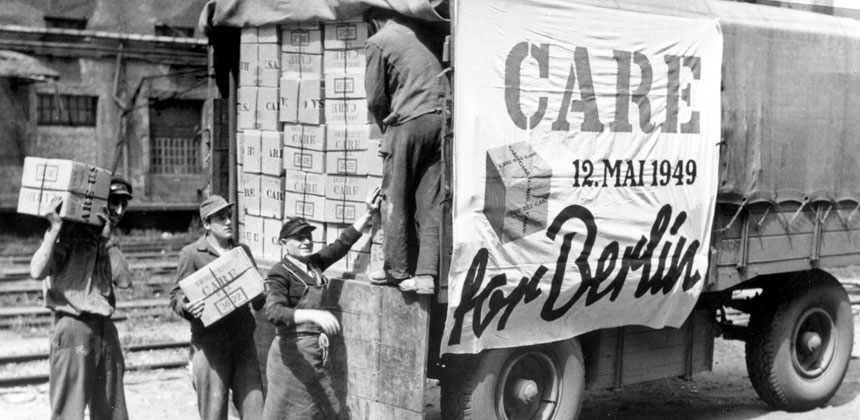 CARE packages unloaded from a lorry in Berlin