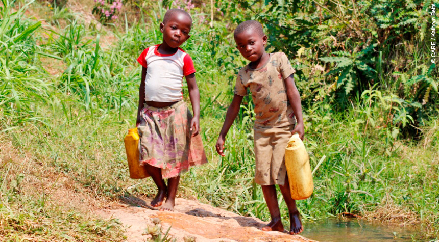 Girls collecting water in Ethiopia
